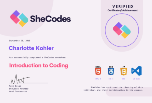 a photo of a completion certificate from SheCodes