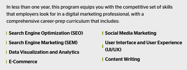 a photo of the different topics taught at the University of Miami Digital Skills Bootamp